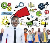 Diversity group of people and Branding Communication — Stock Photo