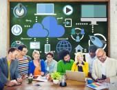 Brainstorming Sharing Online Global Communication Cloud — Stock Photo