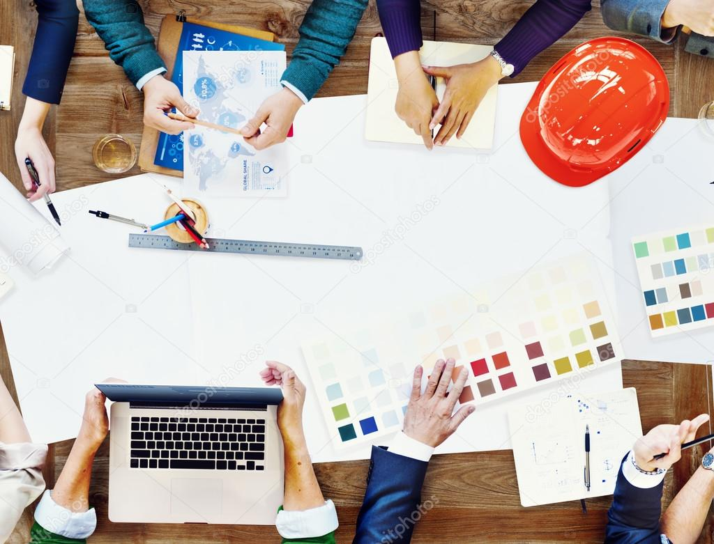 Download business team meeting and construction design stock