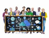 Group of people and Social Media Networking — Stock Photo