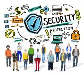 Multi Ethnic Group Security Protection Information — Stockfoto