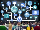 Group of people and Global Social Media Networking — Stock Photo