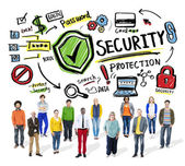 Multi Ethnic Group Security Protection Information — ストック写真