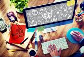 Web Designer and Office Design -  Advertising Concept — Stock Photo