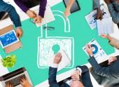 ビジネス人々 および Sucurity ロック ガード コンセプト — ストック写真