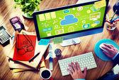 Web Designer and Office Design - Internet Storage Concept — Stock Photo