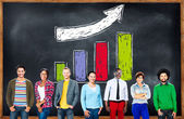 Diverse people and Bar Graph Concept — Stock Photo