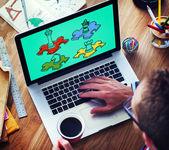 Web デザイナーとオフィス デザイン - ゲームのコンセプト — ストック写真