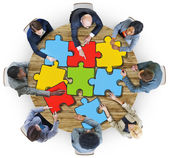 Group of Business People with Jigsaw Puzzle — Stock Photo