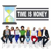 Tijd geld zandloper Concept — Stockfoto