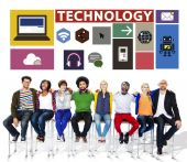 Technology Social Media Networking Online Digital — Stock Photo