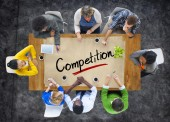 Multi ethnic Group with Competition Concept — Stock Photo