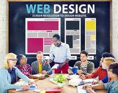 Concepto de información en los medios de comunicación web diseño — Foto de Stock
