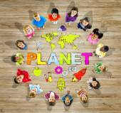 Multiethnic Group of Children with World Map — Stock Photo