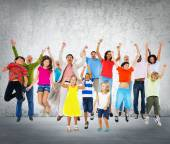 Children Celebration Jumping — Stock Photo