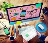 Charity Donate Help Give Saving Sharing Support Volunteer — Stock Photo