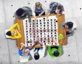 Success Crossword Puzzle Words Achievement Game Concept — Stock Photo