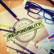 Постер, плакат: Messy office desk with Responsibility Concept