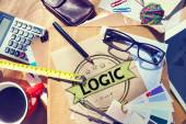 Messy office desk with Logic Concept — Stock Photo