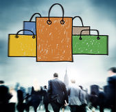 Business people and Shopping Bags — Stock Photo