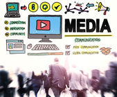 Business people and Media Communication Concept — Stock Photo