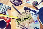 Messy office desk with Change Concept — Stock Photo