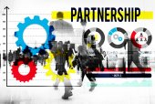 Business people walking and Partnership Concept — Stock Photo