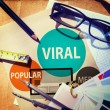 Office desk with Viral Global Communications — Stock Photo #79159032