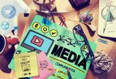 Messy office desk with Media Concept — Stock Photo