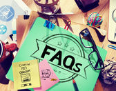 Office desk with Faq Concept — Stock Photo