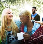 Freunde-Camping Urlaub-Konzept — Stockfoto