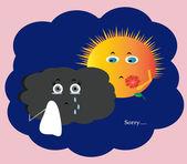 Sun and cloud — Stock Vector