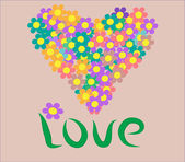 Flora Love Shape — Vector de stock