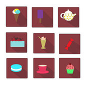 Set of flat style sweet icons — Stock Vector