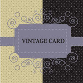Black-white vintage card with background with polka dots — Cтоковый вектор