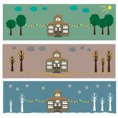 House in Seasons: summer, autumn and winter — Stock Vector