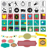 Set with different colorful icons — Stock Vector
