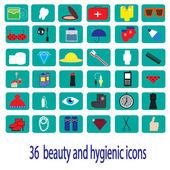 36 beauty and hygienic color icons — Stockvektor