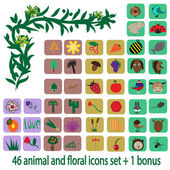 Animal and floral icons set and one bonus — Stock Vector