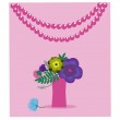 Card with a vase of flowers on a pink background. — Stock Vector #60813679