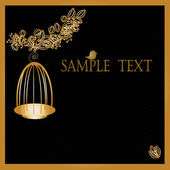 Gold birdcage on black background with Copy Space — Stock Vector