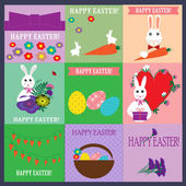 Set of Happy Easter cards — Stock Vector