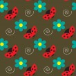 Seamless pattern with ladybugs and flowers on the brown background — Stock Vector #65242401