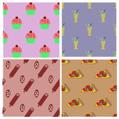 Seamless patterns collection with cupcakes, milk shakes, sausage and slices pizza — Stock Vector