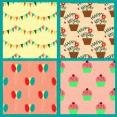 Seamless pattern collection with pennants, balloons, cupcakes and houseplants — Stock Vector