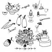 Fruits, légumes et autre dessinés à la main doodle jeu — Vecteur