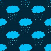 Seamless pattern with clouds and precipitation — 图库矢量图片