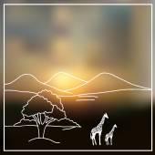 Sky blurred defocused landscape background with african savanna — Stock Vector