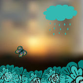 Sky blurred defocused landscape background with cloud, precipitation, butterfly and flowers — 图库矢量图片