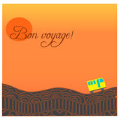 """Card with road, bus and text """"Happy journey"""" in french """"Bon voyage"""". — Stock Vector"""